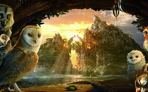Picture the sky, bright colors, clouds, trees, sunset, mountains, river, rocks, cartoon, the evening, mask, owls, …