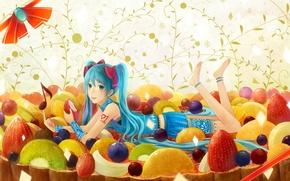 Picture girl, pose, smile, mood, sweets, lies, vocaloid, hatsune miku, Vocaloid, art, bounin