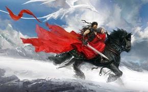Wallpaper dragon, girl, Art, warrior, horse riding, mountains snow