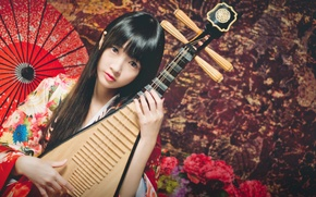 Picture look, girl, umbrella, Asian, musical instrument, lute, Pipa