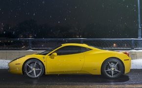 Picture Ferrari, 458, Snow, Yellow, Side, Italia, Road, Supercar, Ligth, Nigth
