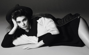 Wallpaper look, pose, photo, model, hat, brunette, jacket, lies, black and white, on the floor, photoshoot, ...