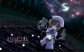 Picture girl, night, the moon, kindness