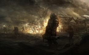 Picture the explosion, weapons, fire, robot, art, soldiers, armor, ruins, battle, sundragon83
