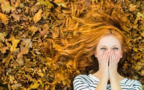 Picture autumn, leaves, girl, joy, laughter, redhead