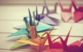 Wallpaper macro, paper, photo, background, Wallpaper, origami, cranes