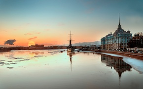 Picture cruiser, morning, Aurora, Saint Petersburg