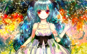 Picture smile, girl, beads, bow, red eyes, stars, blue hair