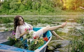 Picture summer, girl, flowers, lake, boat, Valerie
