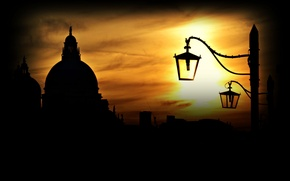Wallpaper the sky, sunset, building, home, lights, Italy, Venice, Italy, Venice