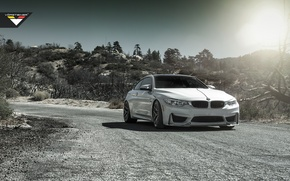 Picture BMW, Sky, Front, Vorsteiner, Sun, White, Tuning, Road