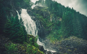 Picture Nature, Waterfall, Trees