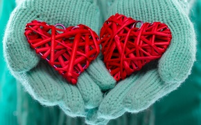 Picture winter, love, heart, hands, love, heart, winter, mittens, hands