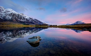 Picture mountains, reflection, stones, the bottom, New Zealand, New Zealand, Queenstown, Lake Wakatipu, Lake Wakatipu, Jacks …