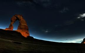 Wallpaper night, rock, sunrise, Arch