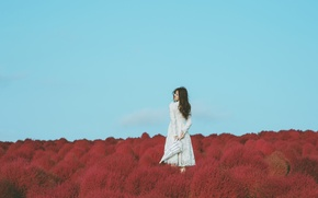 Picture the sky, girl, dress, Asian
