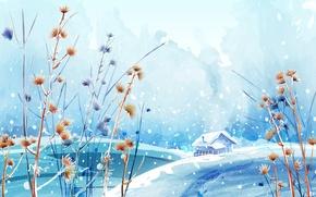 Wallpaper Beautiful winter day, figure, paint