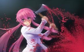 Picture axe, madness, blood, Mirai Nikki, Future diary, Gasai Yuno, blood spatter