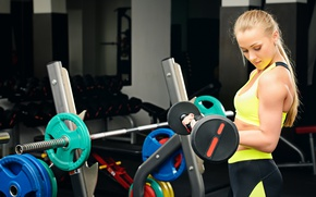 Wallpaper workout, gym, sportswear, blonde, fitness