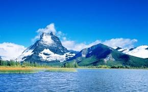 Wallpaper blue, lake, 157, mountains, clouds