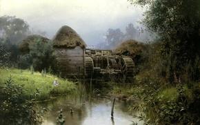 Picture landscape, pond, mill, Polenov
