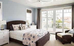 Picture design, bed, chair, pillow, window, bedroom, rattan