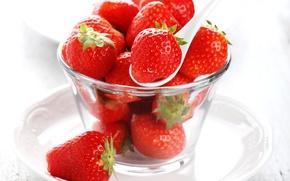 Wallpaper strawberry, spoon, sweet, fresh, strawberry, berries