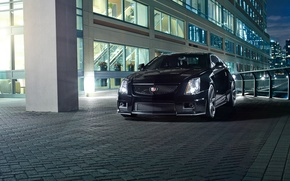 Picture night, the city, black, Cadillac, black, CTS-V, Cadillac