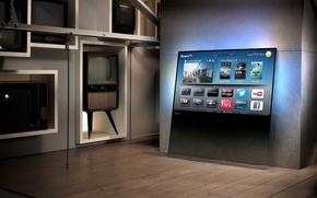 Picture future, past, interior, TV, smart tv, Philips DesignLine TV