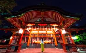 Picture girl, night, calm, temple, photographer, Kenji Yamamura
