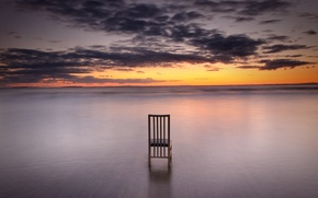 Picture sea, clouds, sunset, horizon, chair, orange sky