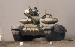 Picture smoke, dust, tank, t-90, THE ARMED FORCES