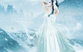 Picture cold, winter, the sky, girl, snow, mountains, face, hair, hands, makeup, dress, art, profile, curls