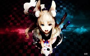Picture girl, sword, anime, scarf, neko, ears, anime, multi-colored eyes