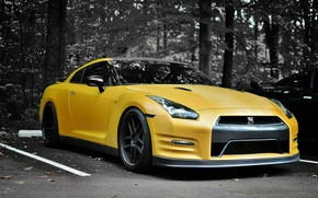 Picture Nissan, GT-R, yellow, on the contrast