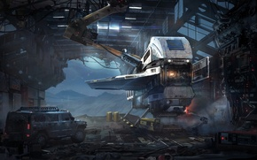 Picture Sci-Fi, spaceship, Hummer, art