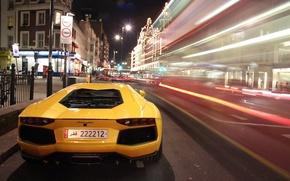 Picture night, ass, Lamborghini, yellow, night, aventador