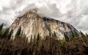 Wallpaper the sky, trees, clouds, rock, mountain, CA, USA, USA, rock, Yosemite, sky, trees, California, clouds, ...