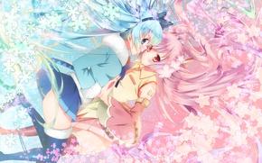 Wallpaper flowers, snowflakes, girls, anime, Sakura, art, vocaloid, sakura, mike, yuki miku