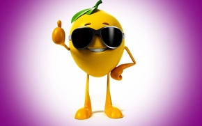 Picture smile, lemon, glasses, class, lemon, smile, glasses, purple background, class, purple background