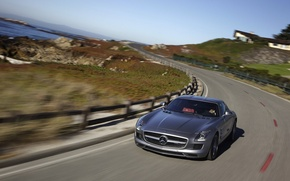 Picture road, stones, the fence, speed, mercedes, benz, sls, amg