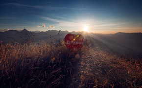 Picture grass, the sun, rays, mountains, glare, dawn, heart, Wallpaper from lolita777, sign