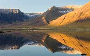 Picture sea, water, mountains, morning, Iceland, farm, Westfjords