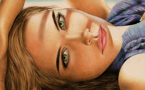 Picture look, girl, face, hair, hand, painting, green eyes, Isabel Lucas