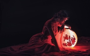 Picture light, pose, lantern, Asian, reflections