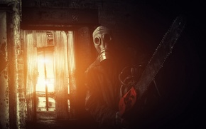Picture people, the situation, gas mask, chainsaw