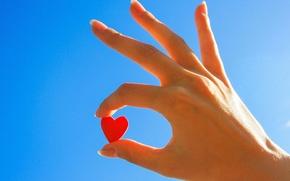 Wallpaper the sky, girl, pink, Wallpaper, mood, heart, hand, wallpaper, love, heart, sky, heart, blue, widescreen, ...