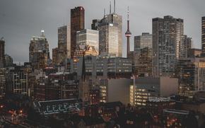 Wallpaper Toronto, the city, Canada, morning, lights