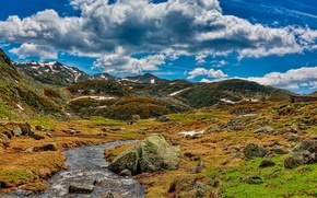 Picture the sky, clouds, mountains, river, stream, stones