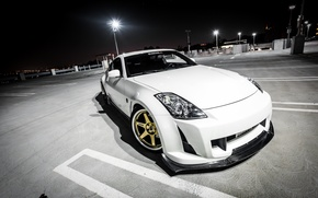 Picture white, night, tuning, Parking, Nissan, white, Nissan, 350Z